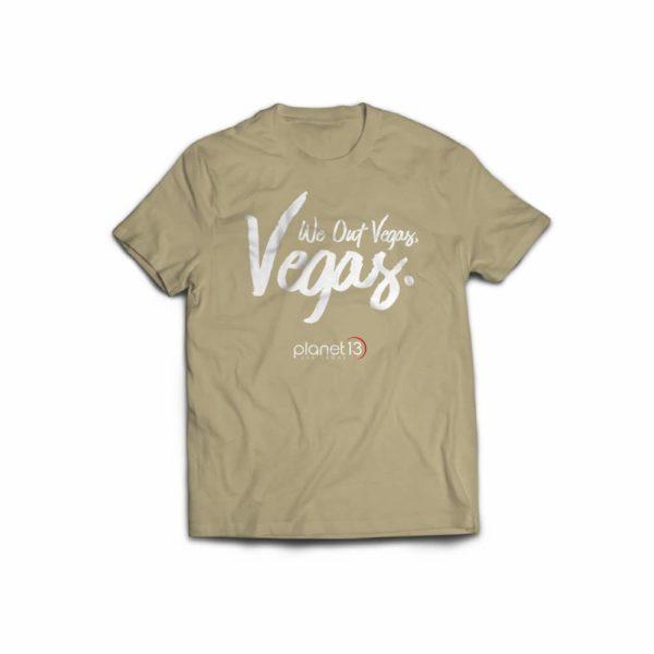 planet 13 cannabis apparel tan t-shirt